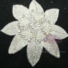 "5.3"" BEADED GLASS CRYSTAL RHINESTONE WEDDING CRAFT SASH HEADBAND APPLIQUE"