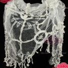 VINTAGE STYLE BRIDAL WEDDING CROCHET IVORY LACE WRAP VEIL SCARF SHAWL