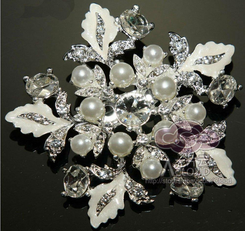 BRIDAL WEDDING WHITE FAUX PEARL FLOWER RHINESTONE CRYSTAL SILVER BROOCH PIN
