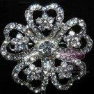 RHINESTONE CRYSTAL BRIDAL WEDDING HEART FLOWER BOUQUET CLUSTER SILVER BROOCH PIN