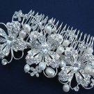 WEDDING BRIDAL VINTAGE FAUX PEARL RHINESTONE CRYSTAL TIARA HAIR COMB