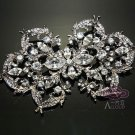 LOT OF 10 VINTAGE STYLE RHINESTONE CRYSTAL SASH CORSAGE SILVER BROOCH PIN 4""