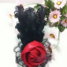 RED ROSE HANDMADE BLACK FEATHER LACE FASHION HAIR CLAW ALLIGATOR CLIP