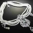 FLOWER WEDDING BRIDAL RHINESTONE CRYSTAL PEARLS EARRINGS TIARA NECKLACE SET