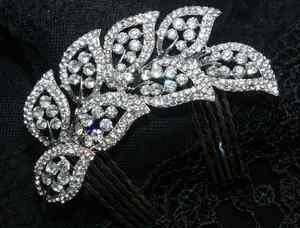 SOFT WIRE BEADED WEDDING BRIDAL RHINESTONE CRYSTAL HANDMADE COMB HAIR TIARA
