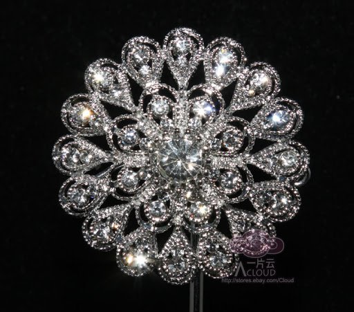 LOT OF 10 CRYSTAL RHINESTONE FLOWER BOUQUET BRIDAL DRESS WEDDING CAKE BROOCH PIN