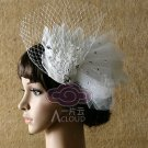 BRIDAL WEDDING WHITE PEACOCK FEATHER HAIR FASCINATOR BIRDCAGE VEIL HAIR  CLIP