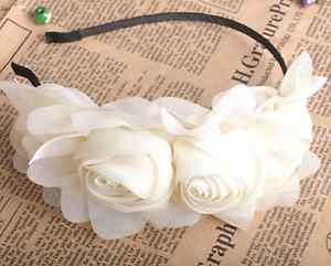 VINTAGE STYLE IVORY HANDMADE CHIFFON ROSE FLOWERS TWINS HAIR HEADBAND HAIRBAND