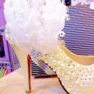 BRIDAL WEDDING  WHITE FEATHER RHINESTONE CRYSTALS SHOE CLIPS / HAIR CLIP