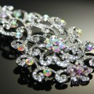 "4"" RAINBOW VICTORIAN BRIDAL WEDDING RHINESTONE CRYSTAL HAIR COMB"
