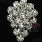 BRIDAL WEDDING CAKE CLEAR RHINESTONE CRYSTAL GRAPE FLOWER BOUQUET BROOCH PIN