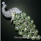 PEACOCK GREEN PURPLE RHINESTONE CRYSTAL WEDDING BRIDAL PENDANT BROOCH PIN