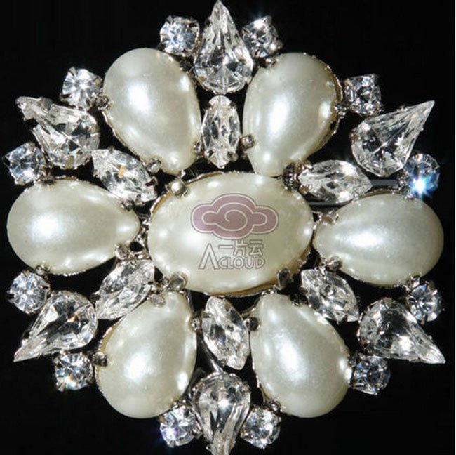 BRIDAL DRESS CLUTCH BUCKLE WHITE FAUX PEARL RHINESTONE CRYSTAL OVAL  BROOCH PIN