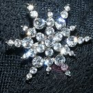 BRIDAL RHINESTONE CRYSTAL WEDDING CAKE DECORATION STAR SNOW BROOCH PIN