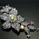 AB RHINESTONE CRYSTAL WEDDING BRIDAL FLOWER FLORAL BOUQUET BUCKLE BROOCH PIN
