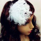 WHITE FEATHER FAUX PEARL RHINESTONE HAIR WEDDING BRIDESMAID ACCESSORY