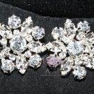 LOT OF 6 CLEAR RHINESTONE CRYSTAL SILVER FLORAL WEDDING BRIDAL CRAFT BUTTONS