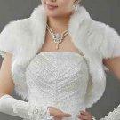 BLACK/OFF WHITE BRIDAL WEDDING GOWN CAPE STOLE FAUX FUR WRAP SHRUG BOLERO JACKET