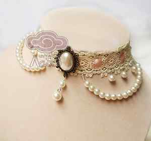 ROMANTIC IVORY LACE PINK RIBBON CHOKER FAUX PEARL NECK COLLAR HANDMADE NECKLACE