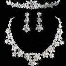 WEDDING BRIDAL RHINESTONE CRYSTAL FOREHEAD TIARA CLIP ON EARRINGS NECKLACE SET