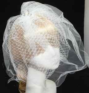 FANCY WHITE SHEER WEDDING FAUX PEARL CRYSTAL BRIDAL FISHNET SHOW BIRDCAGE VEIL