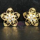 LOT OF 4 FLORAL RHINESTONE CRYSTAL WEDDING HEART METAL SHANK BUTTONS SILVER/GOLD