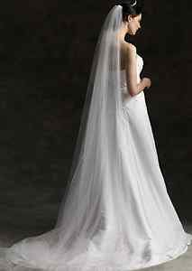 WEDDING BRIDAL BRIDES ORGANZA WHITE CATHERDAL VEIL 1 Tier WITH HAIR COMB