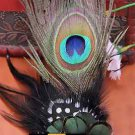 BRIDAL WEDDING WHITE OR PEACOCK FEATHER HAIR FASCINATOR ALLIGATOR HAIR  CLIP