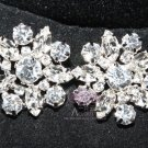 LOT OF 4 FLORAL RHINESTONE CRYSTAL WEDDING GOLD SILVER SHANK BUTTONS SILVER/GOLD