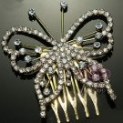 BUTTERFLY BRIDAL WEDDING BRIDES GOLD RHINESTONE CRYSTAL TIARA HAIR COMB