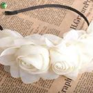 OFF WHITE HANDMADE CHIFFON ROSE FLOWERS WEDDING TWINS HAIR HEADBAND HAIRBAND