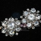 LOT OF 4 SILVER RHINESTONE BRIDAL FLOWER WEDDING DRESS DECORATION HOOK BUTTONS