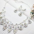 WEDDING BRIDAL RAINBOW RHINESTONE CRYSTAL EARRINGS TIARA NECKLACE SET