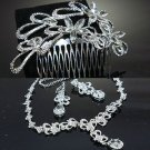 WEDDING BRIDAL RHINESTONE CRYSTAL CLIP ON EARRINGS NECKLACE SET & HAIR COMB