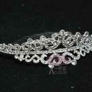 WEDDING BRIDAL SILVER HEART RHINESTONE CRYSTAL TIARA HAIR CROWN COMB