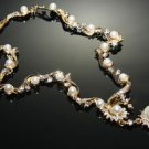 WEDDING BRIDAL RHINESTONE CRYSTAL PEARLS GOLD TONE NECKLACE SET