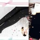 VELVET TIGHT SHEER GOLD STAR ELASTIC BLACK SOCKS STOCKINGS 500D M-L
