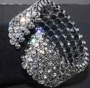 CLEAR RHINESTONE CRYSTAL 5 ROWS WEDDING BRIDAL BANGLE BRACELET CUFF