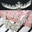 WEDDING BRIDAL RHINESTONE CRYSTAL FAUX PEARL TIARA EARRINGS NECKLACE SET