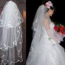 WEDDING BRIDAL BRIDES ORGANZA OFF WHITE LACE TULLE EDGE VEIL 3 Tier