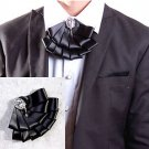 BLACK RHINESTONE GOTH MEN KNOT WEDDING PARTY ASCOT CRAVAT BOW NECKTIE NECK TIE