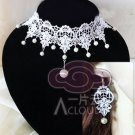 WHITE GOTHIC GOTH FRENCH VENICE LACE APPLIQUE PATCH NECKLACE EARRINGS SET