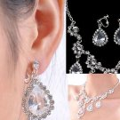TEARDROP WEDDING BRIDAL RHINESTONE CRYSTAL DANGLE  CLIP EARRINGS NECKLACE SET