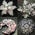 LOT OF 4 MIXED ROUND CAKE BOUQUET FAUX PEARL RHINESTONE CRYSTAL  BROOCH PIN