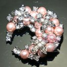 PINK PEARL RHINESTONE CRYSTAL BRIDAL WEDDING DRESS BROOCH PIN