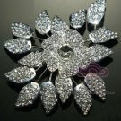 LOT Of 2 FLOWER RHINESTONE CRYSTAL CAKE DRESS FLORAL BOUQUET NAPKIN BROOCH PIN