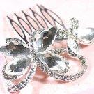 BUTTERFLY BRIDAL WEDDING BRIDES SILVER GIRLS RHINESTONE CRYSTAL TIARA HAIR COMB