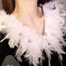 COCKTAIL WHITE GREY FEATHER FUR NECK COLLAR RIBBON NECKLACE WRAP SCARF
