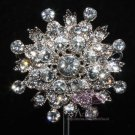 ROUND FLOWER BOUQUET WEDDING BRIDAL CAKE CLEAR RHINESTONE CRYSTAL BROOCH PIN