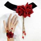 HANDCRAFT RED ROSE BLACK VELVET GOTH EVENING BRASS NECKLACE BRACELET SET
